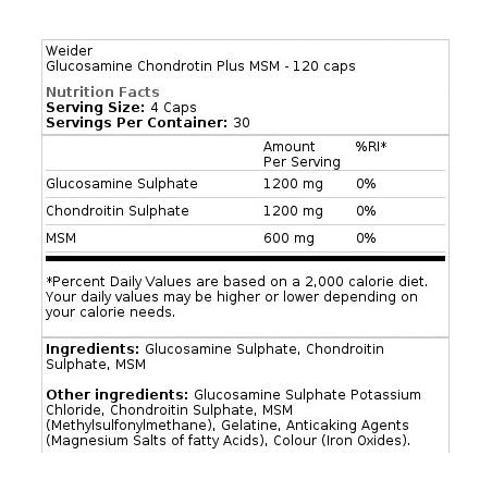 Glucosamine Chondrotin Plus MSM Weider - 120 capsules