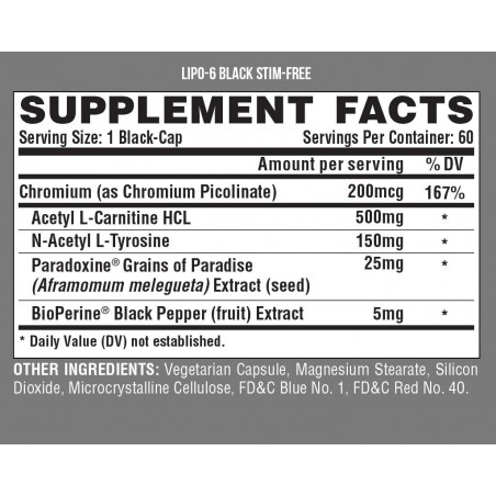 Lipo-6 Black Ultra Concentrate Stim-Free - 60 capsules