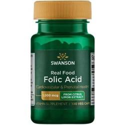 Real Food Folic Acid, 1000mcg - 100 vcaps