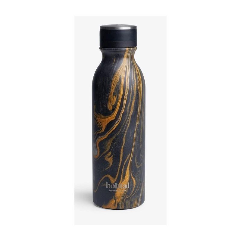 Botella isotérmica Bohtal, negra jaspeada, 600 ml
