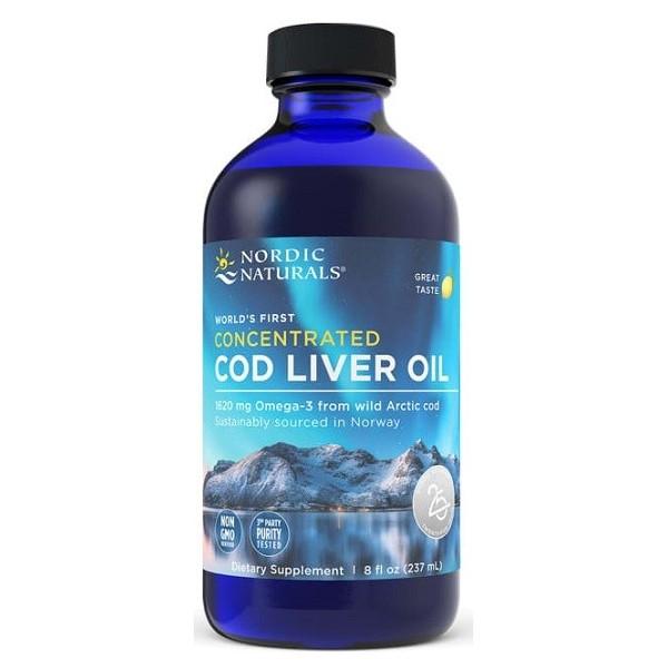 Aceite de hígado de bacalao ártico concentrado, 1620mg Limón - 237 ml.