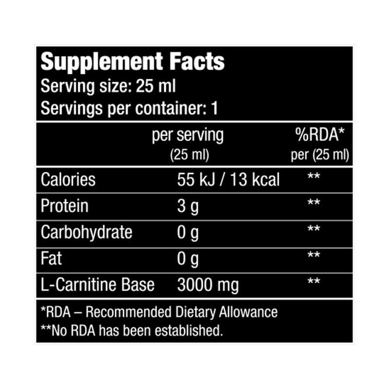 Composition de L-Carnitine 3000 - 20 ampoules de 25 ml - Biotech USA