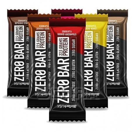Zero Bar (boite de 20 barres de 50 g), barre proteinée sans sucre de Biotech USA