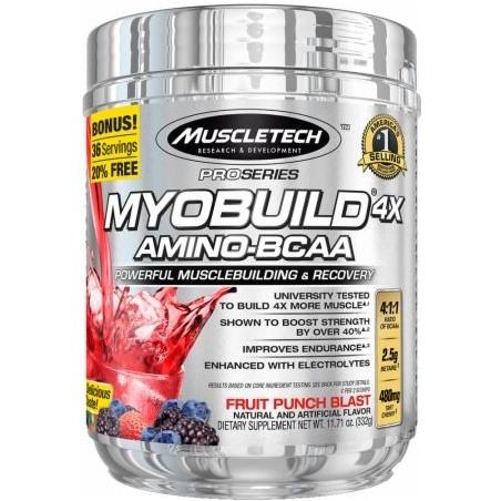 MyoBuild 4X Amino-BCAA, Fruit Punch Blast - 332g