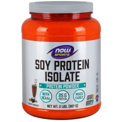 Protéine de Soja isolate goût chocolat, 907 gr, Now Sports