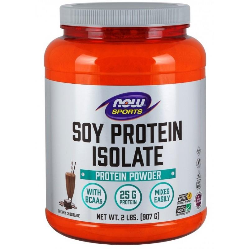 Protéine de Soja isolate goût chocolat, 907 gr, Now Sports