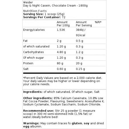 Day & Night Casein 1800 gr Weider
