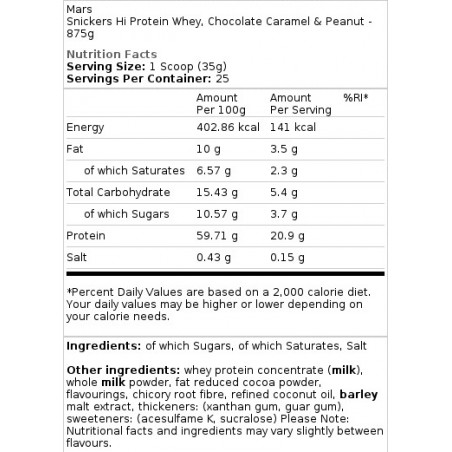Snickers Hi Protein Whey, Chocolat Caramel et cacahuète - 875 gr