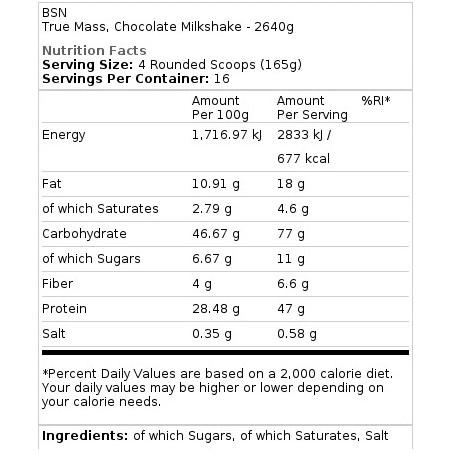 True Mass 2640 gr chocolat